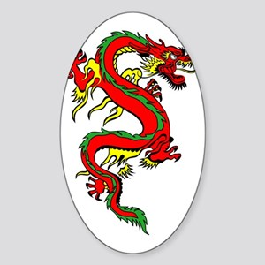 Red Dragon Sticker (Oval)