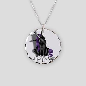 Ima Fuckin Unicorn /Black Necklace Circle Charm