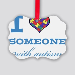 I Love someone with Autism Picture Ornament