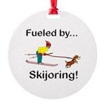 Fueled by Skijoring Round Ornament