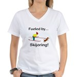 Fueled by Skijoring Women's V-Neck T-Shirt