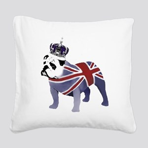 English Bulldog and Crown Square Canvas Pillow