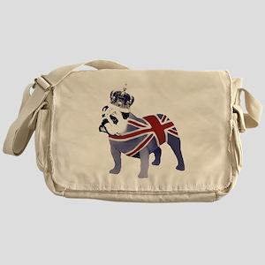 English Bulldog and Crown Messenger Bag