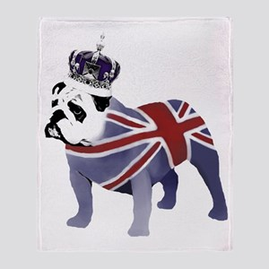 English Bulldog and Crown Throw Blanket