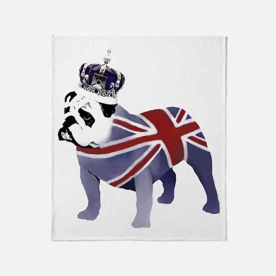English Bulldog and Crown Throw Blanket