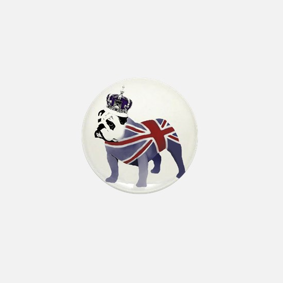 English Bulldog and Crown Mini Button