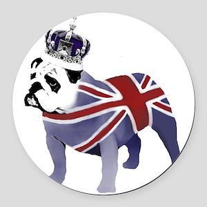 English Bulldog and Crown Round Car Magnet