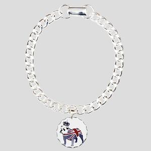 English Bulldog and Crow Charm Bracelet, One Charm