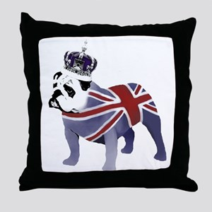 English Bulldog and Crown Throw Pillow