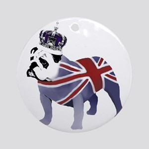 English Bulldog and Crown Round Ornament