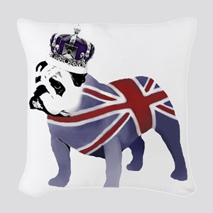 English Bulldog and Crown Woven Throw Pillow