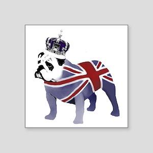 "English Bulldog and Crown Square Sticker 3"" x 3"""