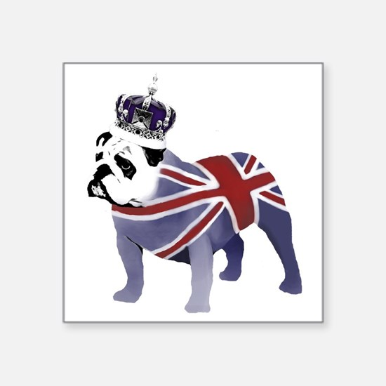 "English Bulldog and Crown Square Sticker 3"" x 3"""