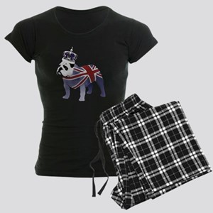 English Bulldog and Crown Women's Dark Pajamas