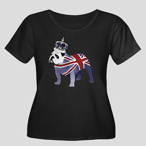 English  Women's Plus Size Dark Scoop Neck T-Shirt