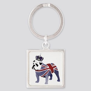 English Bulldog and Crown Square Keychain