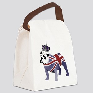 English Bulldog and Crown Canvas Lunch Bag