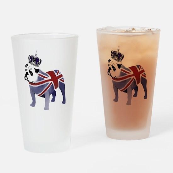 English Bulldog and Crown Drinking Glass