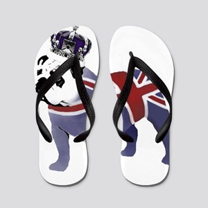 English Bulldog and Crown Flip Flops