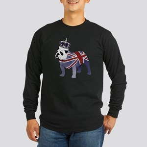 English Bulldog and Crown Long Sleeve Dark T-Shirt