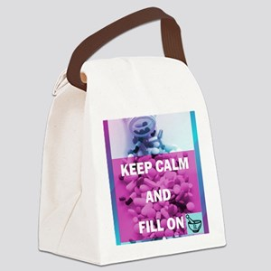 Keep Calm and Fill On (Purple and Canvas Lunch Bag