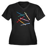 Colorful Clarinets Plus Size V-Neck Dark T-Shirt