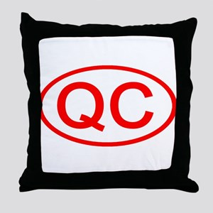 QC Oval (Red) Throw Pillow