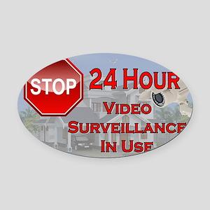Stop - Video Surveillance Oval Car Magnet