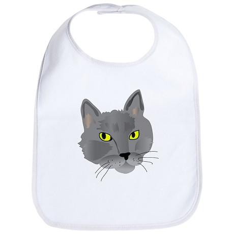 Gray cat head Bib