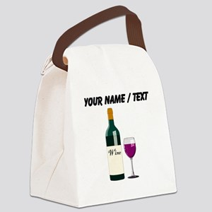 Custom Wine Bottle And Wine Canvas Lunch Bag