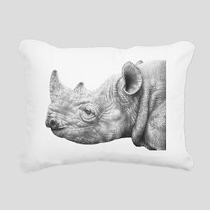 Black Rhino Wall Decal Rectangular Canvas Pillow