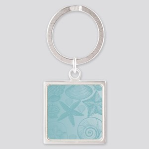Aqua shells Square Keychain
