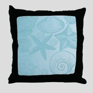 Aqua shells Throw Pillow