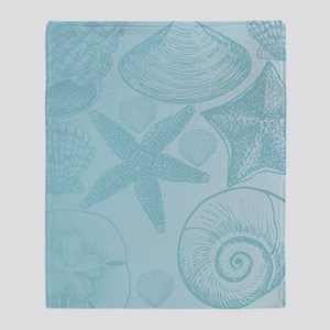 Aqua shells Throw Blanket