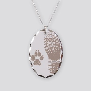 Take a hike Boot n Paw Necklace Oval Charm