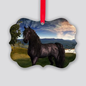 Freisian Horse Picture Ornament