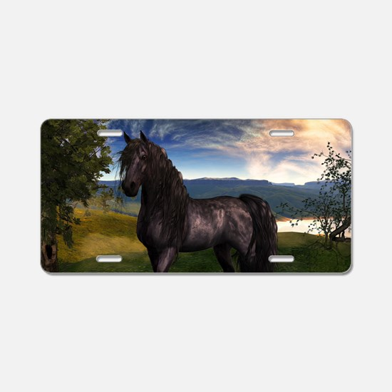 Freisian Horse Aluminum License Plate