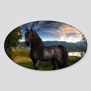 Freisian Horse Sticker (Oval)