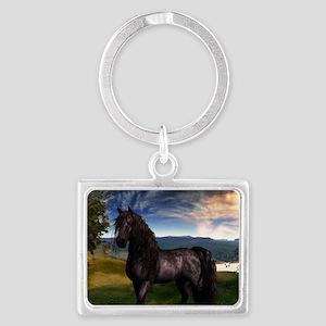 Freisian Horse Landscape Keychain