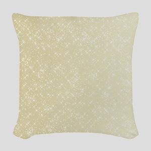 Gold sparkles Woven Throw Pillow