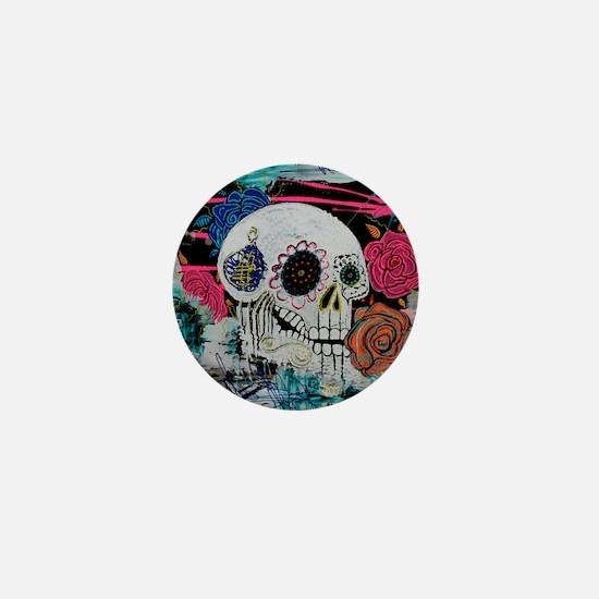 Sugar Skull and Roses Mini Button