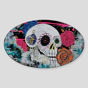 Sugar Skull and Roses Sticker (Oval)