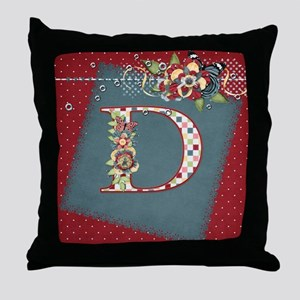 Country Charm Monogramed D Throw Pillow
