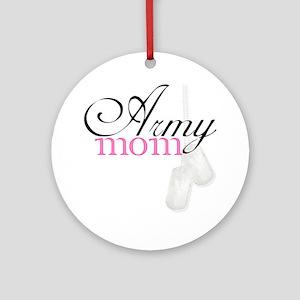 Army Mom (Black  Pink) Round Ornament