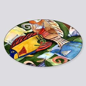 Tropical Fish School Sticker (Oval)