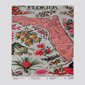Vintage Florida Map with Fruit and F Throw Blanket