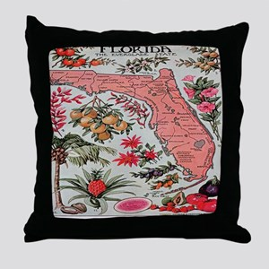 Vintage Florida Map with Fruit and Fl Throw Pillow