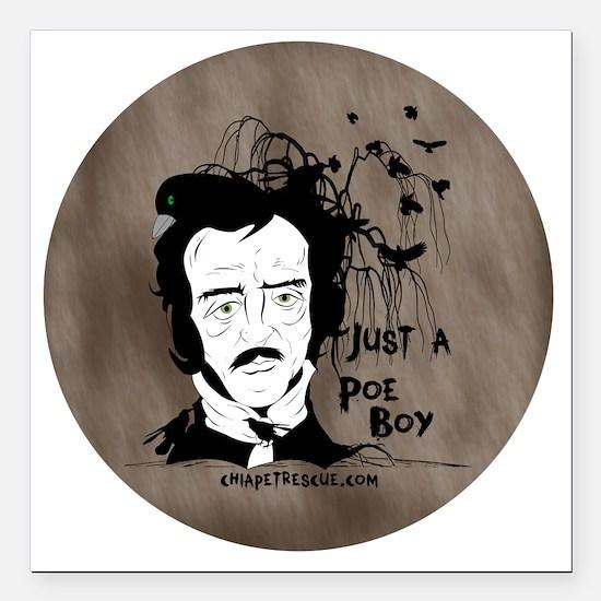 "Funny Edgar Allen Poe Square Car Magnet 3"" x 3"""