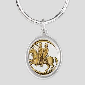 Templar seal Silver Oval Necklace