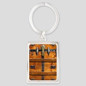 Vintage Wood Steamer Trunk Steam Portrait Keychain